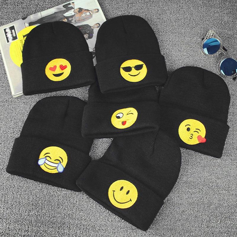 Emoji Knit Beanie Cap Adult Child Mens Winter Warm Hat Unisex Hip Hop Adjustable hot winter beanie knit crochet ski hat plicate baggy oversized slouch unisex cap