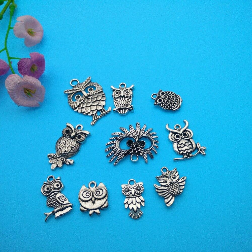 ჱVintage Silver Mixed Owl Charms Pendant For Jewelry Making ...