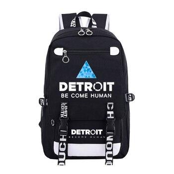 2017 retro canvas school bag versatile casual shoulder bags for men zipper backpack free shipping Detroit Become Human Canvas Backpack Men Women Shoulder Travel Bags Boys Girls School Bag For Teenagers Casual Laptop Bag