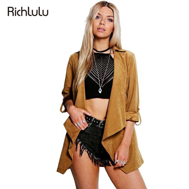 Richlulu mulheres trincheira casaco três quartos manga comprida turn down collar casual casacos outwears sólidos camel solto elegante fêmea básico