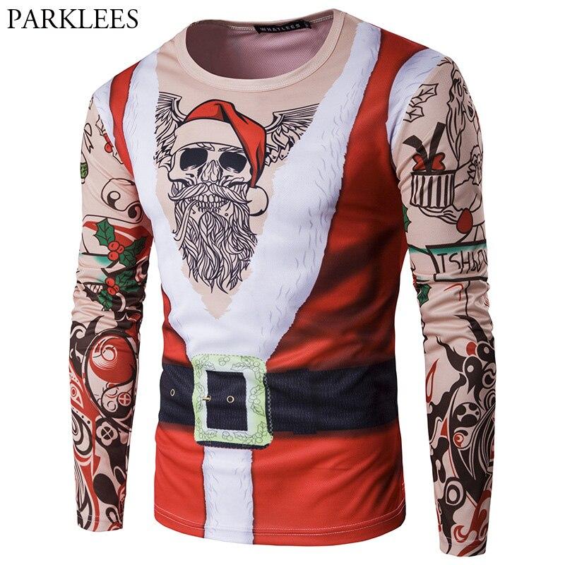 Falso dos piezas 3D Navidad impreso hombres camiseta 2017 Santa Claus camiseta Homme Harajuku Hip Hop divertido camisolas Slim Top Camisetas