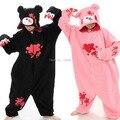 Otoño invierno de la franela amantes parejas Animal pijama de una pieza de dibujos animados ropa de noche de Halloween Gloomy negro / blanco oso Cosplay pijama