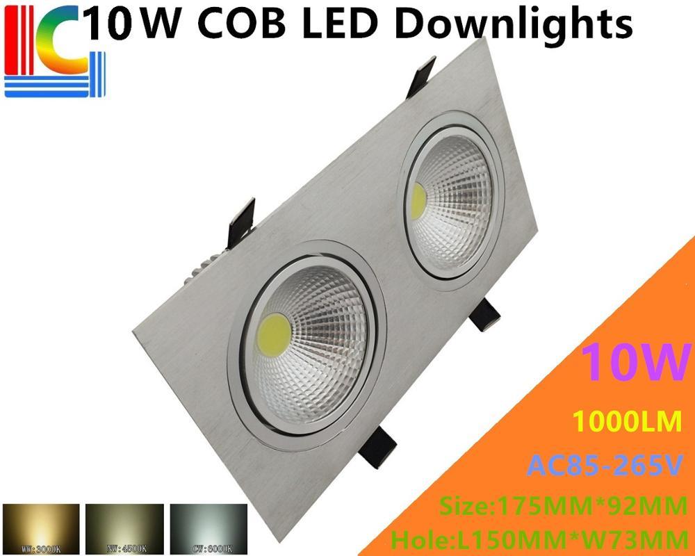 Double COB 10 W rectangulaire LED Downlights 85-265 V encastré plafonnier CE Ultra lumineux ameublement éclairage Grille lampe
