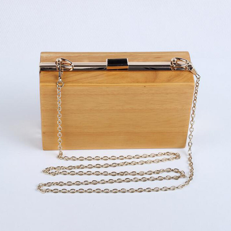 Fashion Brand Wooden Day Clutch Women Evening Bags Chain Handbags Party Wedding Purses Banquet Shoulder Bags bolsas mujer Li709 new women diamond wedding bride shoulder crossbody bags gold clutch tassel evening bags party purse banquet handbags mujer yh50