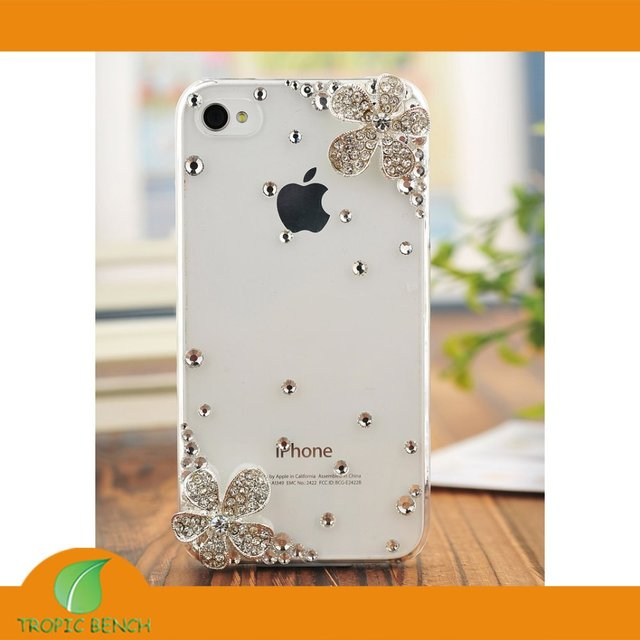 49413fbd586 BRAND PHONE CASE-Double Flower Bling Rhinestone Crystal Cell Phone Cover  Case For iPhone 4 4S