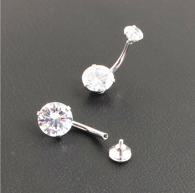 50pcs Surgical Steel Navel Rings Belly Bars Button Barbells 14G Navel Piercing