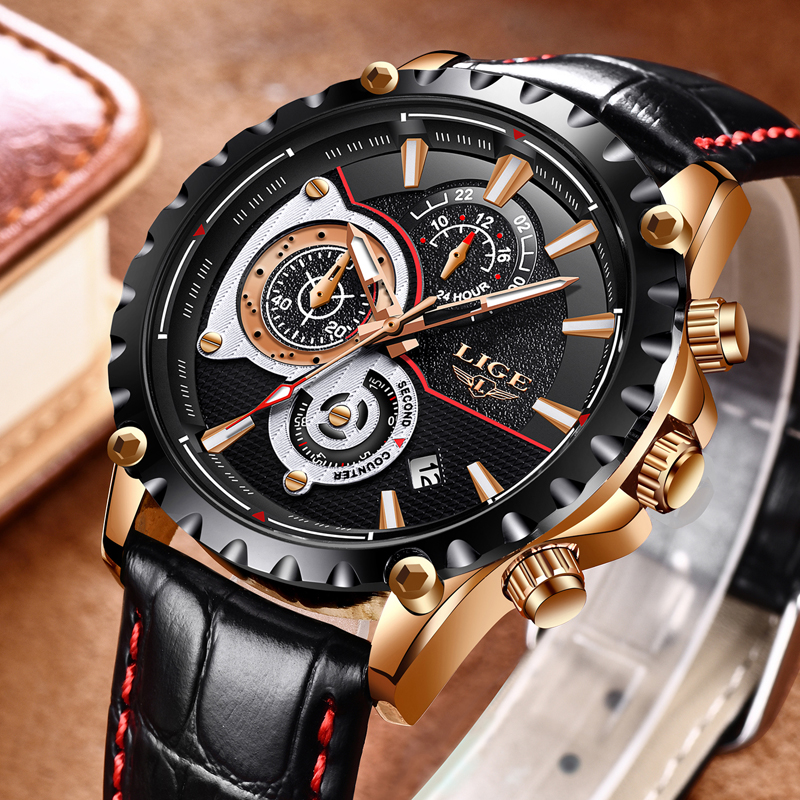 LIGE Top Brand Luxury Watch Men Fashion Quartz Army Military Clock Mens Watches Leather Waterproof Sport Watch Relogio Masculino army military men sport watch relogio masculino valia brand leather waterproof date day hours quartz clock mens watches