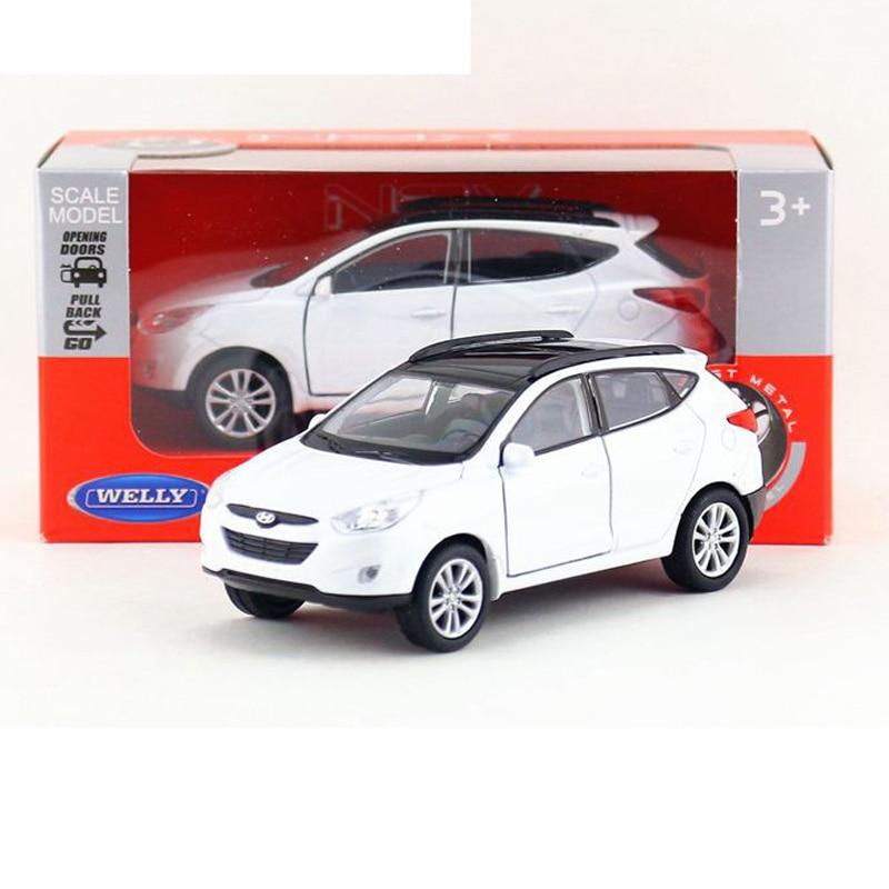 Çocuk Çocuk Welly Hyundai Santafe Welly Model Araba 1:36 Diecast Metal Alaşım Araba Oyuncak Geri Çekin Hediye Orijinal Kutusu