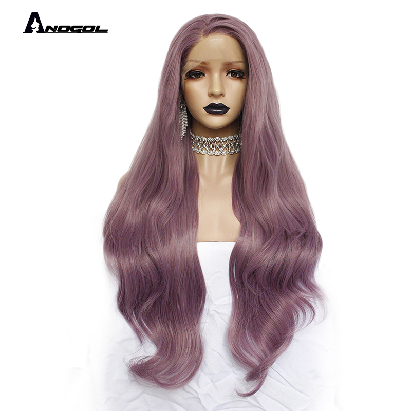 Anogol Purple Long Natural Wave High Temperature Fiber Hairline Hair Wigs Soft Swiss Synthetic Lace Front