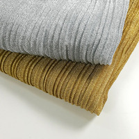 Crushed Large Pleated Accordion Cloth Velvet Gold Silver Metallic Color Stripe Pleated Skirt Electro optic Fashion Fabric Cloth