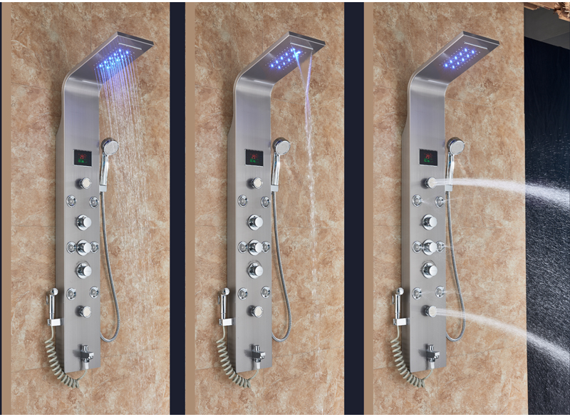 HTB1DKysXtfvK1RjSszhq6AcGFXaB LED Light Shower Faucet Bathroom Waterfall Rain Black Shower Panel In Wall Shower System with Spa Massage Sprayer and Bidet Tap