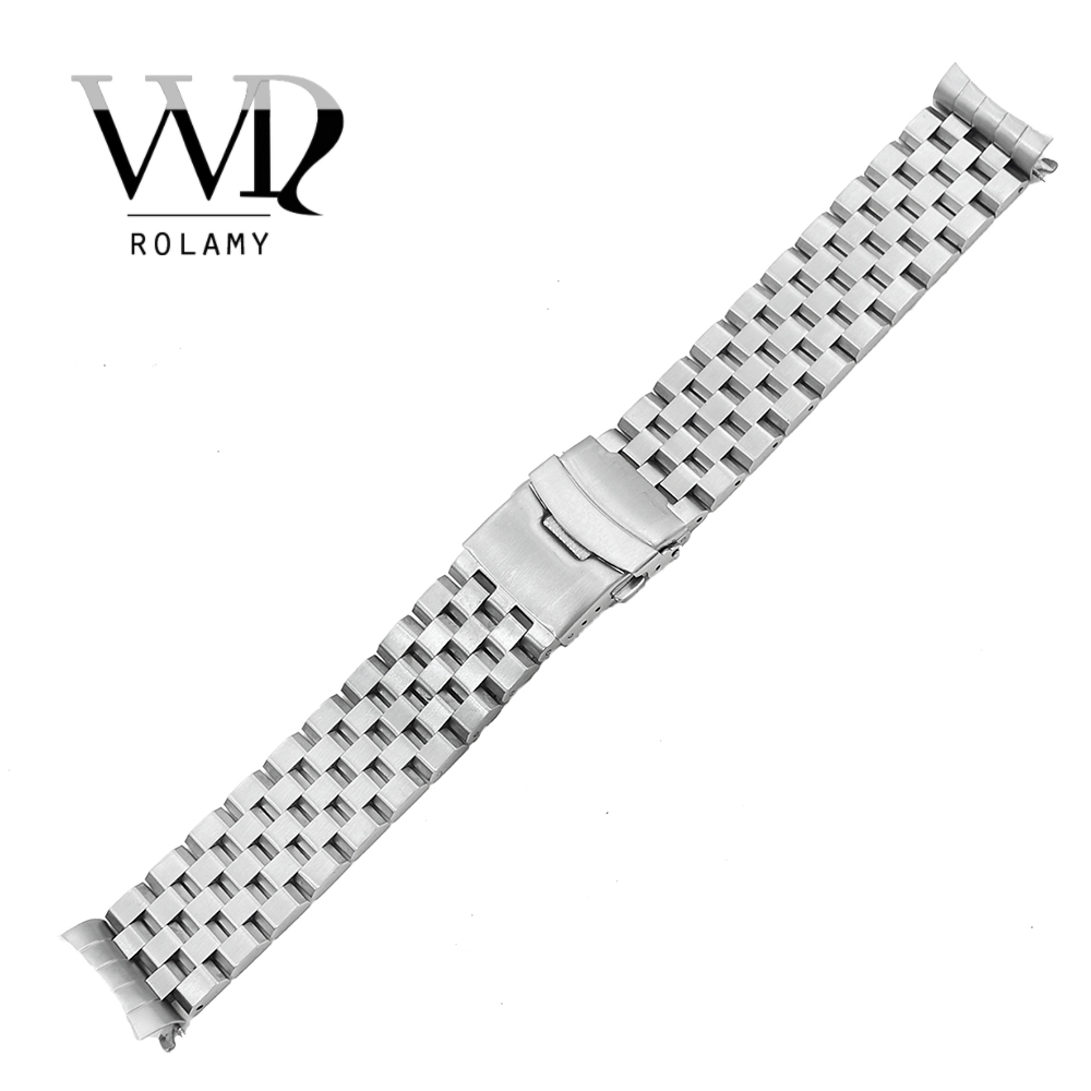 Rolamy 22mm Silver Hollow Curved End Solid Links Replacement Watch Band Strap Bracelet Double Push Clasp For SeikoRolamy 22mm Silver Hollow Curved End Solid Links Replacement Watch Band Strap Bracelet Double Push Clasp For Seiko
