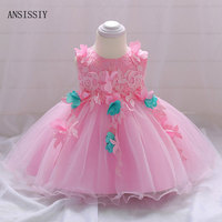 Baby 1 Year Birthday Dress Pink Girl Wedding Clothing Princess Christening infant Vestido Party Kids Baptism Flower Clothes