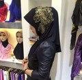2016 de alta calidad de paño de color negro las mujeres Musulmanas wraps hijab