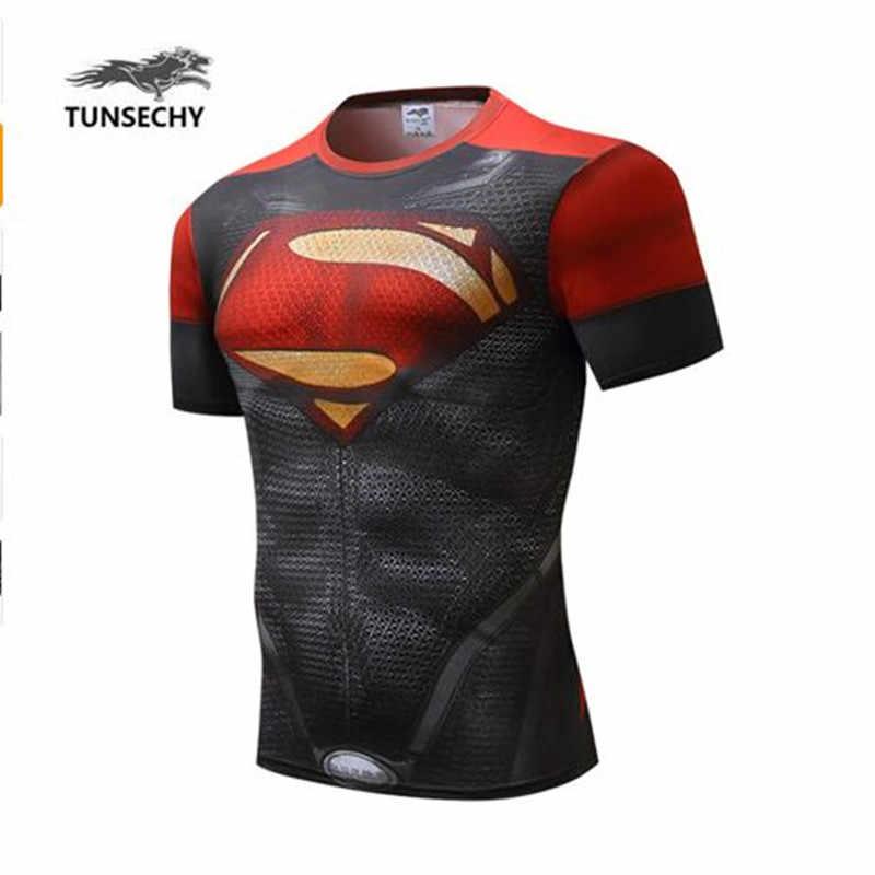 TUNSECHY avengers aliansi, superman, captain America merek mode kompresi akan lycra t-shirt harga grosir dukungan