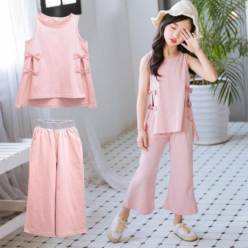 cotton children clothing sets summer girls sport suit big girls clothes sleeveless t shirts long pants 2pcs set kids tracksuit