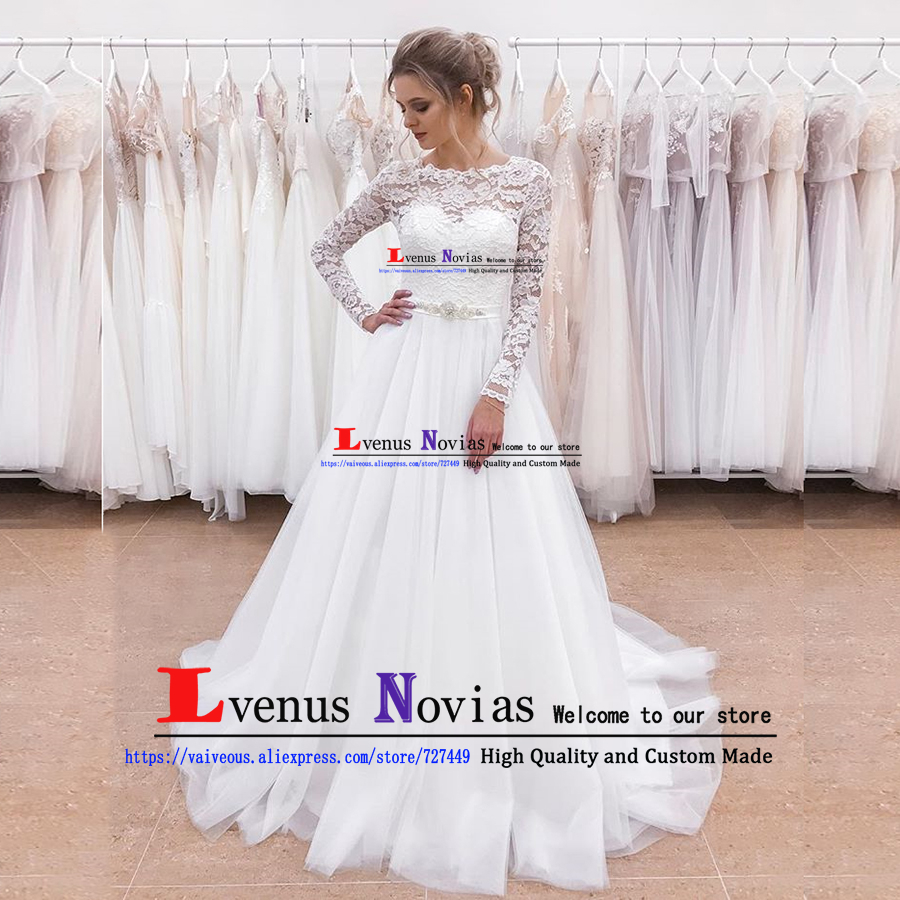 Cheap Beach Wedding Dress 2019 Bride Dress Elegant White Lace Long Sleeve Wedding Dresses with Beaded