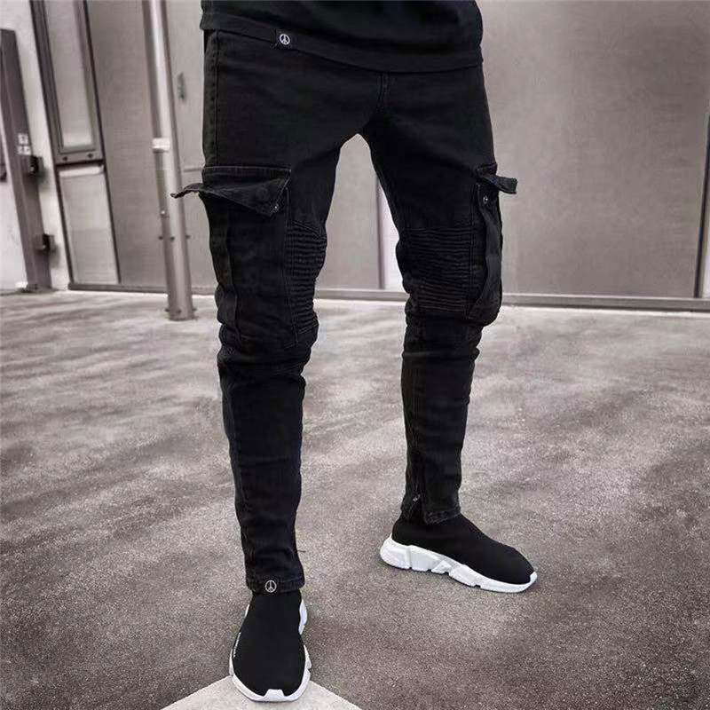 2019 Fashion Black Jean Men Denim Skinny Biker Jeans Destroyed Frayed Slim Fit Pocket Cargo Pencil Pants Trouser Plus Size S-3XL