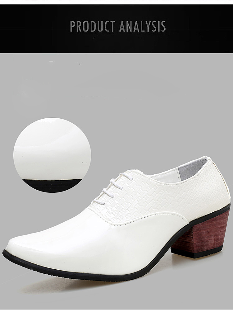 4c99544a81b3 Mens Black White Wedding Shoes Gentsman 6cm High Heeled Glossy ...