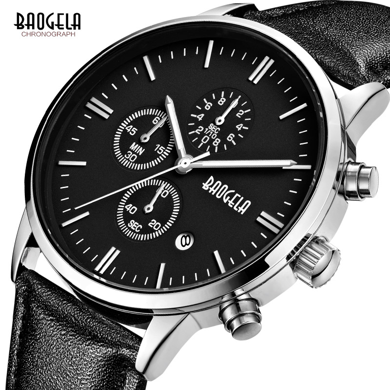 Fashion Chronograph Sport Mens Watches Top Brand Luxury Leather Quartz Watch Reloj Hombre 2017 Clock Male Wrist Watches relogio luxury brand men watches retro design leather band analog alloy quartz round wrist watch creative mens clock reloj hombre july31