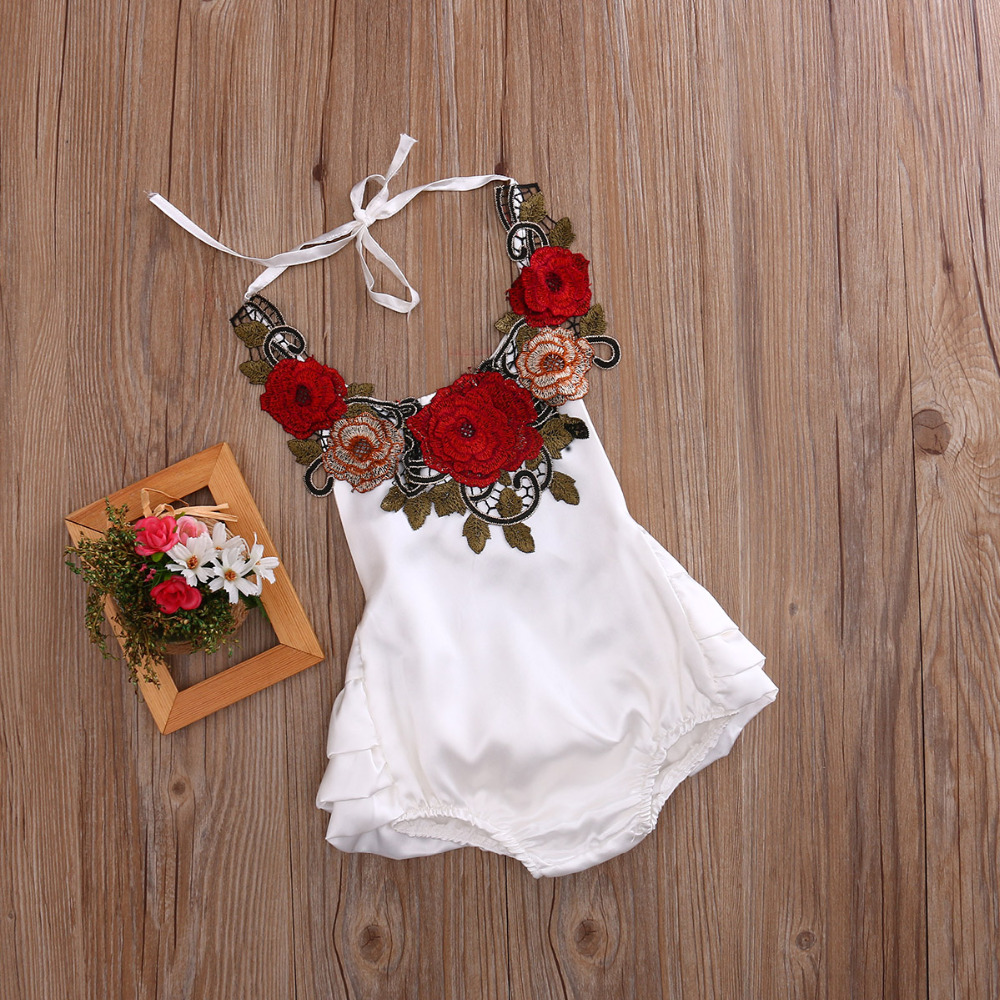 2017 1PC New Infant Baby White Red Apron Flower Girl Dress Jumpsuit Dress Romper Outfit Girl Sleeveless Body Dress