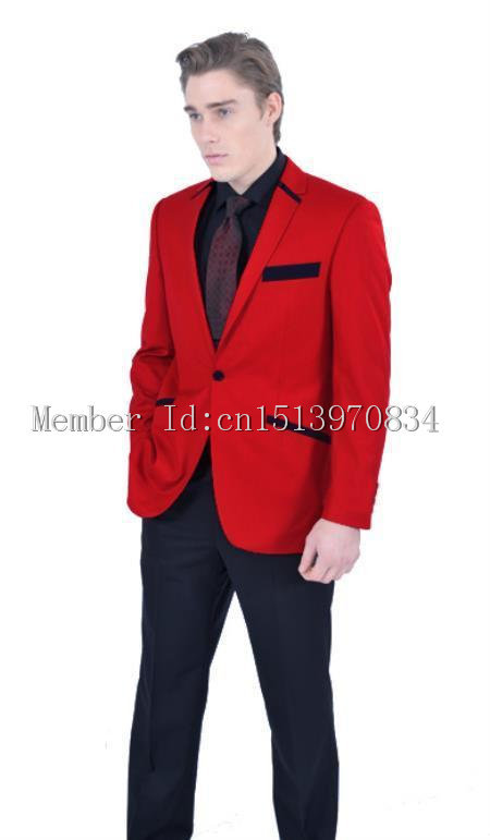 2015 Custom Made New Arrivals One Button Red Groom Tuxedos Notch ...