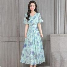 YICIYA Green 2019 Dresses Woman Party Night Chiffon Print Floral Maxi Long Plus Size Dress Women Slim Bodycon Summer Clothing