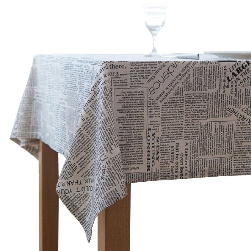 YHYS rétro journaux motif décoratif nappe coton linge nappe Table à manger couverture pour cuisine décor à la maison