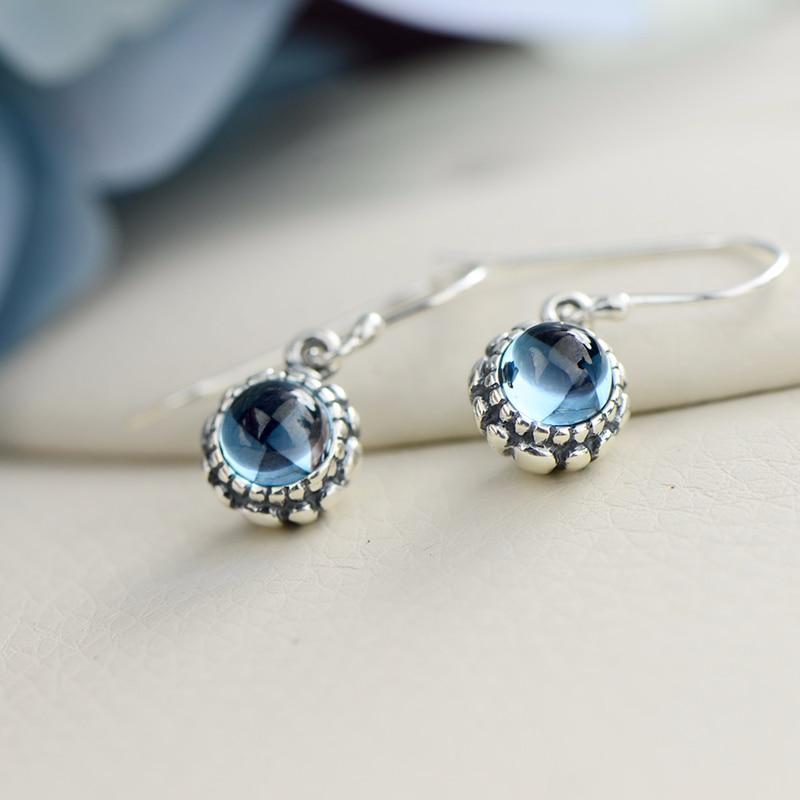 Boucles d'oreilles en argent Sterling 925 boucles d'oreilles topaze en pierres précieuses naturelles pour femmes crochet bijoux accessoires Boucle D Oreille