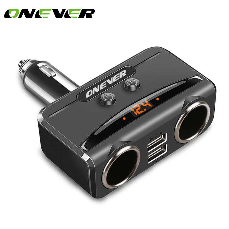 Onever 1 to 2 Cigarette Lighter Socket Splitter Dual USB Charger 12V-24V Power Adapter Max 5V 3.1A with Voltmeter LCD Display
