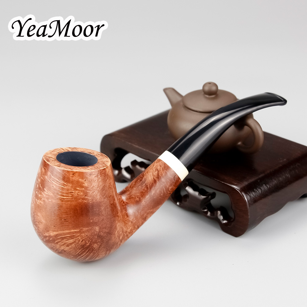 74 tools set Bent Briar Wood Pipe 9mm Filter White Ring Smoke Tobacco Pipe Handmade