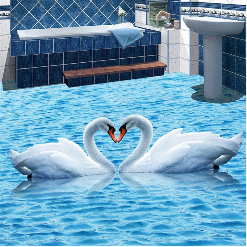 Beibehang HD Blue Water Ripples Swan Waterproof Bathroom Kitchen Balcony PVC Wall Paper Self Floor Mural 3D Wall Sticker