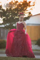 Red Lace Flower Girl Dresses 2019 Tulle Rose Ball Gown Spaghetti Straps Robes Communion Dentelle