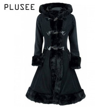 Plusee 2017 Fashion Autumn Long Vintage Gothic Medieval Trench Coat Women Winter Black Coat Elegant Women Coat Vintage Female