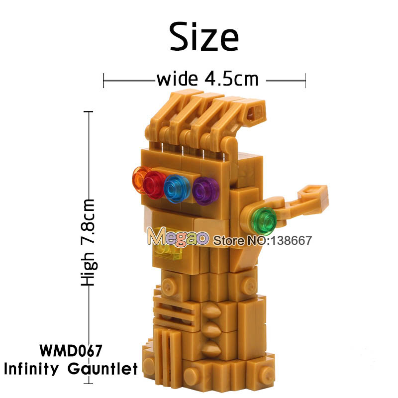 50 pcs lot Marvel s 3 Infinity War Thanos Infinity Gauntlet With Gemstones Building Blocks Toys