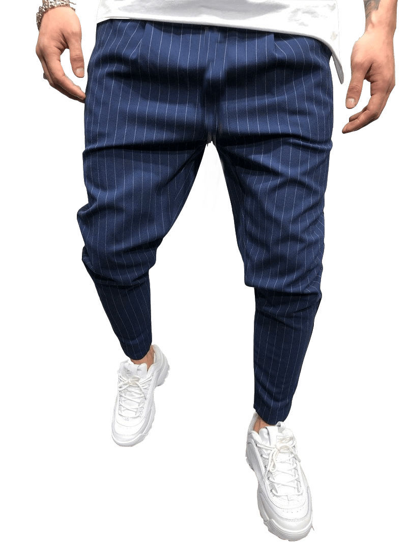 Men 39 s Jogger Pants Summer Long Stripe Twill Casual Pants Straight Fitness Trousers Fashion Harajuku Streetwear 2019 Hot Sale in Casual Pants from Men 39 s Clothing