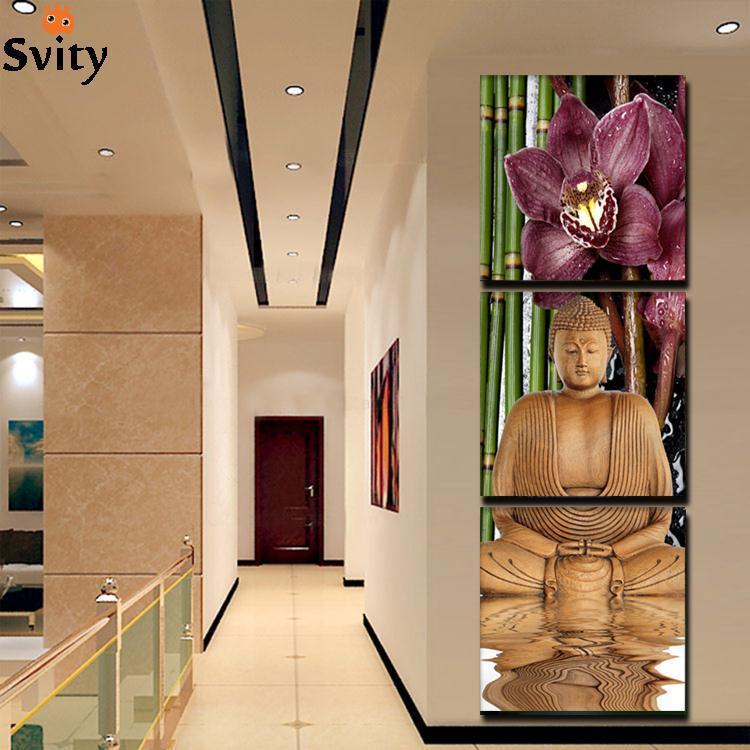 3-kusové plátno, umění, tištěné Buddha, malba, dekorace, obrazy, nástěnné plátno, obrázky do obývacího pokoje, dárky, nálepka na zeď