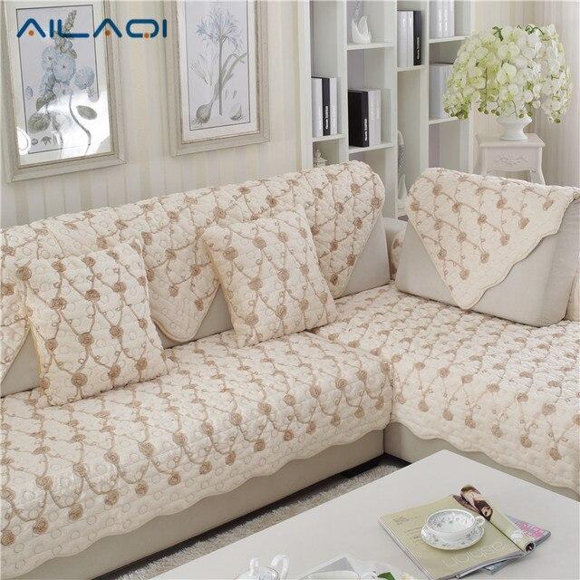 AILAQI Modern Winter Thick Plush Sofa Mat Simple Fashion Plush Non   Slip Rose  Sofa Cover