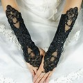 Luvas de Casamento de moda Frisado Preto de Lantejoulas Sheer Mulheres Laço Nupcial Luvas de Casamento Cotovelo-Comprimento Vitage Gants Mariage