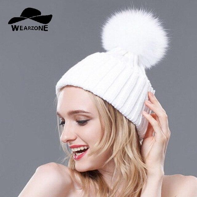 Wearzone Natural FoxFur 15 cmPompon Sombrero de Invierno Gruesa Para Las Mujeres Gorros de Lana Cap Beanie Sombreros de Punto de Cachemir Mujer skullies gorros