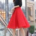 Retro Lace Hitz A-Line High Waist Pleated Tutu Tide 2016 PrimerFemale Skirts womens FemaleFaldas Mujer 2016