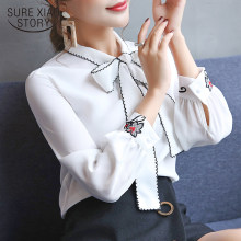 fashion womens tops and blouses white blouse office work wear women chiffon blouse shirt long sleeve women shirts blusas 0726 60(China)