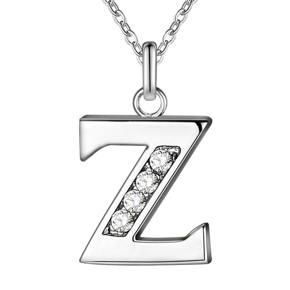 Letter Z Necklace ALP Letter Z bling zircon wholesale silver plated Necklace New Sale silver  necklaces & pendants /CHDSTVGK VIIESDFT