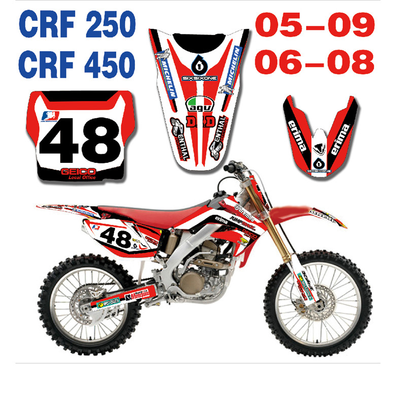 Motorcycle Sticker Decal Graphic With Backgrounds For Honda CRF250 2005 2006 2007 2008 2009 CRF 450 06 07 08