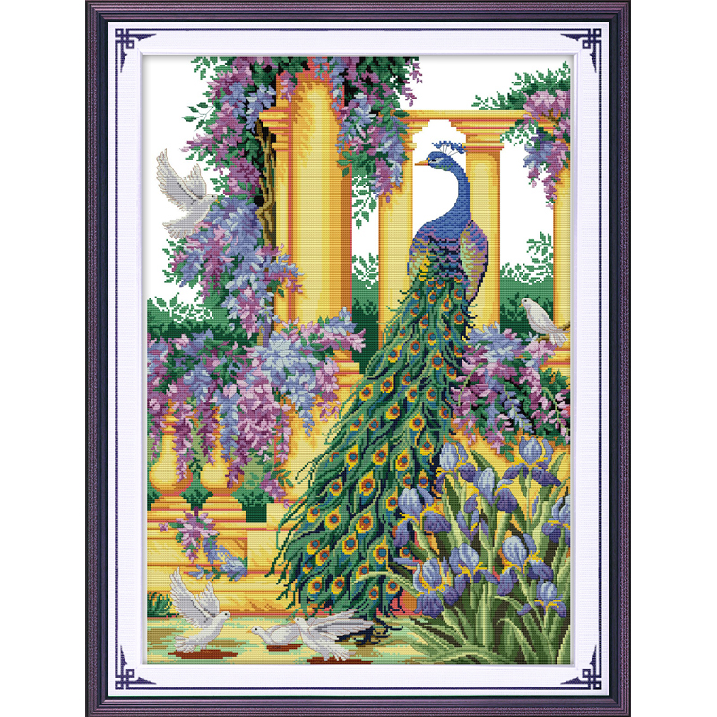 Everlasting love Christmas Purple flowers&peacock  Ecological cotton Chinese cross stitch kits  counted stamped  sales promotion