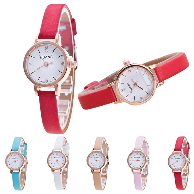 Damenuhr Fashion Women Diamond Bracelet Watches Slim Wrap Around Leather Quartz
