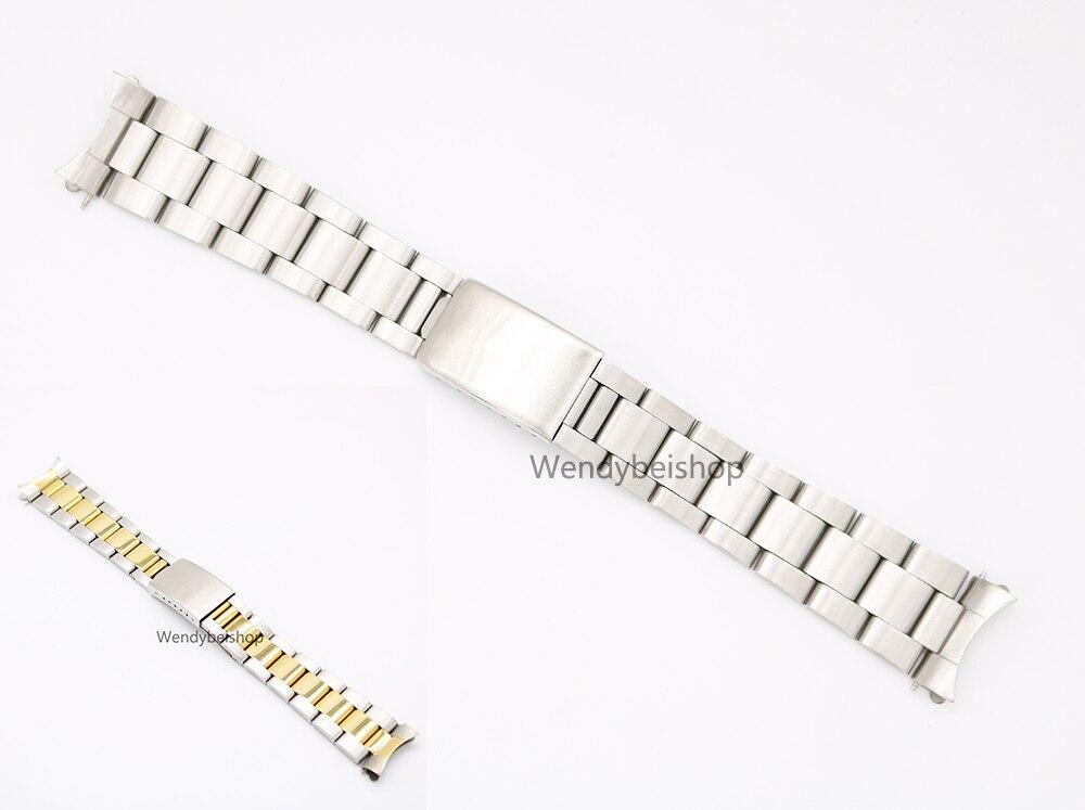 Prix pour 19 20mm 316L En Acier Inoxydable Deux Tons Or Argent Montre bande Courroie De Vieux Style Oyster Bracelet Creux Curved End Déploiement fermoir