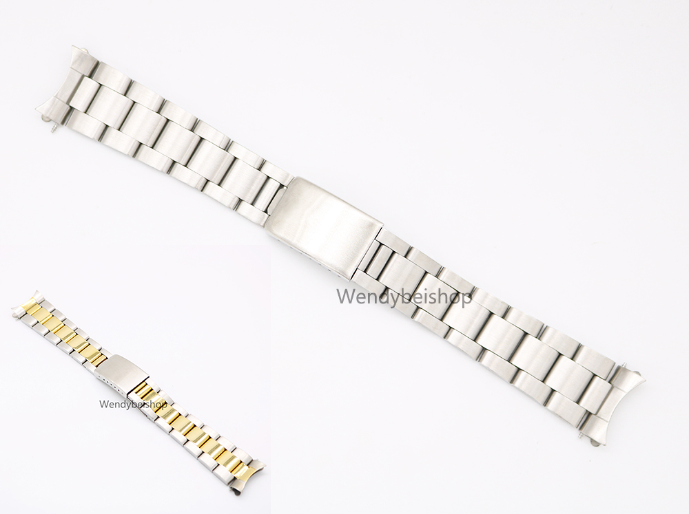 CARLYWET 19 20mm 316L Stainless Steel Two Tone Gold Silver Watch Band Strap Old Style Oyster Bracelet Hollow Curved End часы dkny ny2289 two tone gold