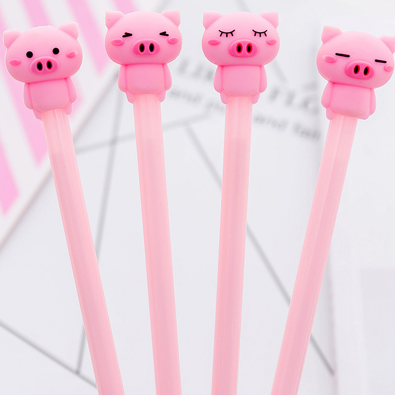 0.38 Mm Cute Pink Pig Expression Gel Pen Signature Pen Escolar Papelaria School Office Supply Promotional Gift