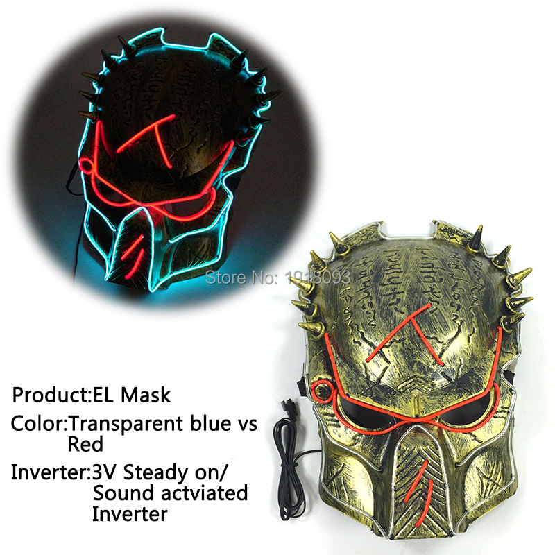 все цены на Glowing Film Predator mask Glowing EL Wire Mask EL Product Novelty Lighting Mask for Film Theme Carnival Party Decoration онлайн